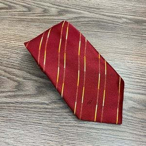 Valentino Red w/ Gold Stripe Silk Tie
